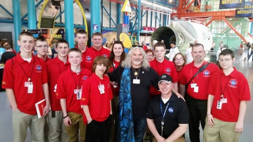 Troy Cline and Artist, Laurence Gartel, celebrated with students and teachers from West Virginia who attended the MMS launch on March 12th, 2015. These students successfully built a life-size model of one MMS spacecraft currently on display at Goddard Space Flight Center.