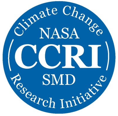 NASA CCRI logo - blue circle with white text reading Climate Change Research Initiative NASA CCRI SMD