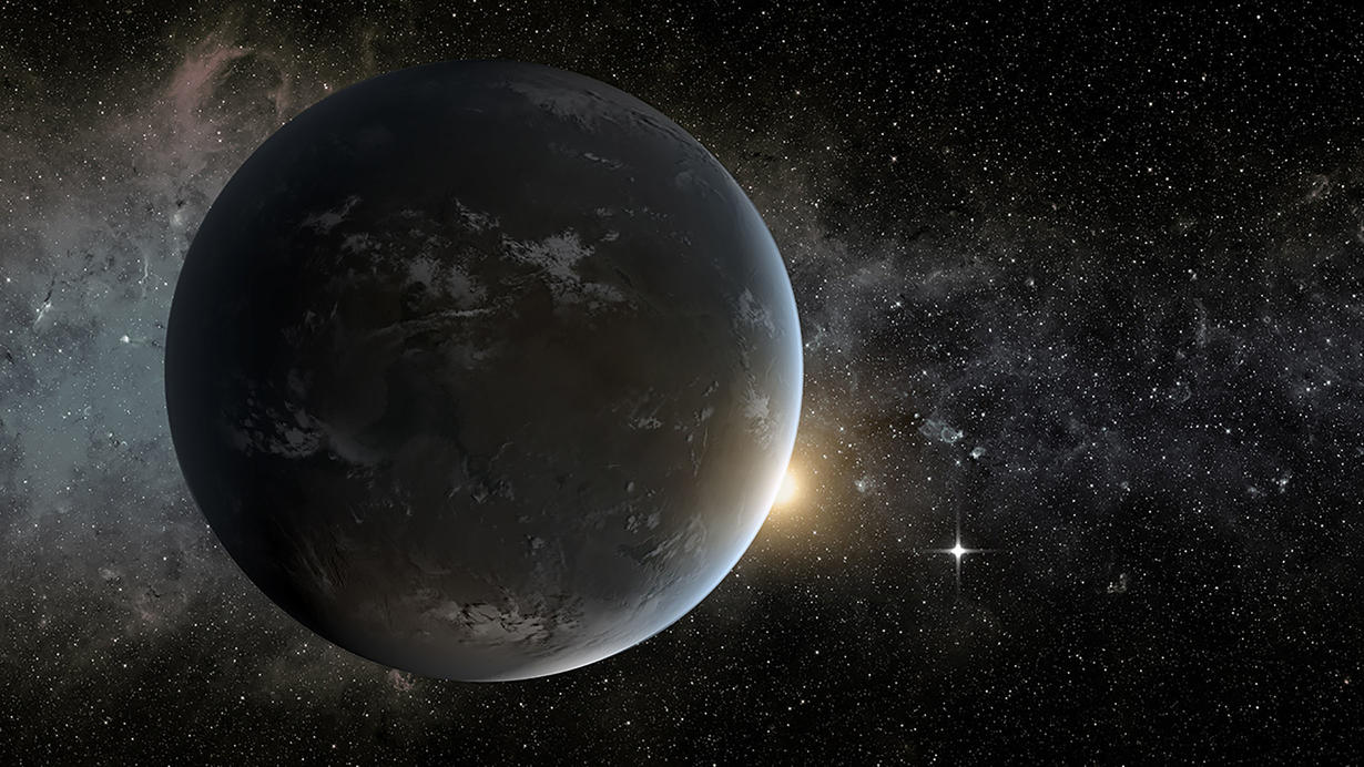 Illustration of Kepler-1652b, a super-Earth exoplanet that orbits an M-type star. Courtesy NASA JPL-Caltech.