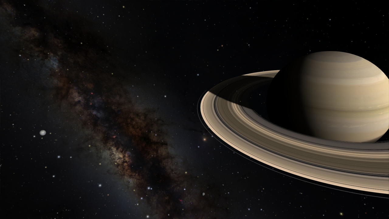 Saturn as visualized in OpenSpace.